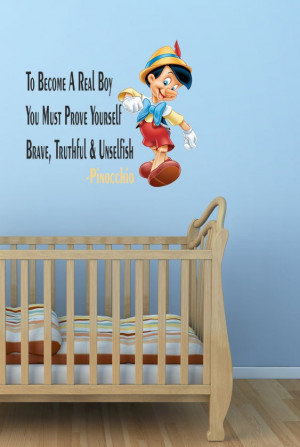 ... Disney Pinocchio Wall Quote Sticker Decal Boys Room Art Vinyl Mural