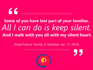 ... quotes from Pope Francis during his apostolic visit to the Philippines
