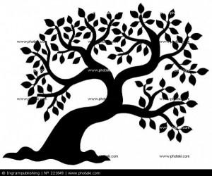 Silueta de árbol frondoso - ilustración vectorial.
