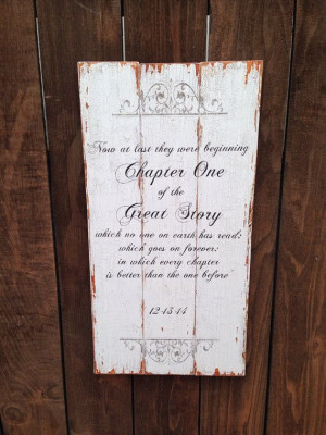 Rustic wooden wedding quote sign with wedding date on Etsy, $149.00