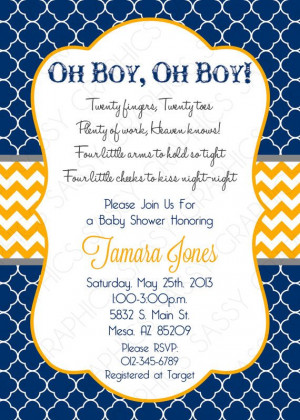 Twin Boys Baby Shower Invitation Navy by SassyGraphicsDesigns Such a ...