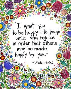 greeting card baha i quote i want you to be happy
