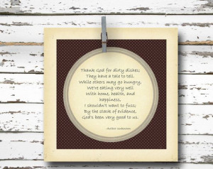 Thank God for Dirty Dishes - Inspirational Quote - 5x5 Art Print