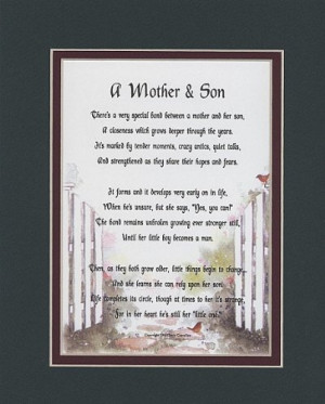 Mother & Son Touching 8×10 Poem, Double-matted in Dark Green Over ...