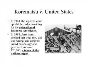 korematsu v the united states essay As for legal restrictions, korematsu vs united states (1944) was a well known  supreme court case fred korematsu had refused to enter an internment camp,.