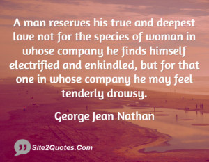 man reserves his true and deepest love not for the species of woman ...
