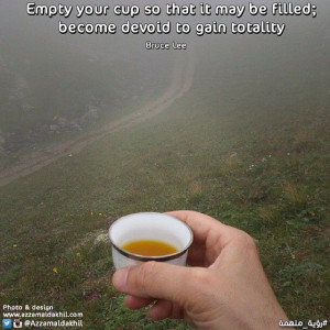 Empty your cup so that it may be filled; become devoid to gain ...