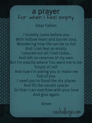 prayer for when I feel empty