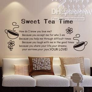 Wholesale - Wall Stickers Decal Vinyl Quote Decor Tea Time PMTT001