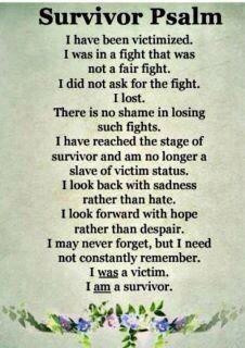 This brought tears to my eyes and warmth to my heart, I am a survivor!