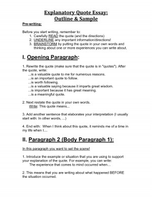 Explanatory Quote Essay Outline _ Sample I. Opening Paragraph II by ...