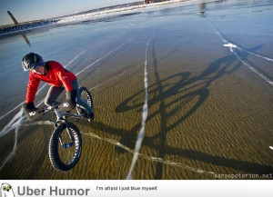 Winter cycling on crystal clear Lake Michigan ice