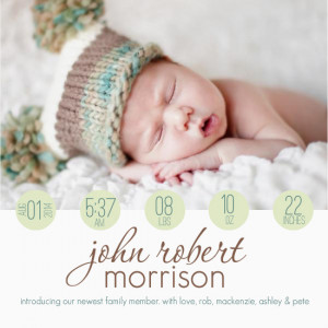 Green Circle Modern Photo Birth Announcement by PurpleTrail.com.