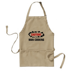 Funny BBQ apron for men | Caution man cooking