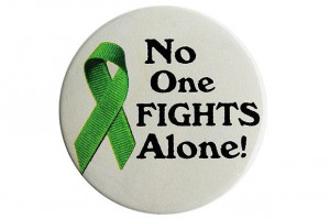 No One Fights Alone! Button - Lymphoma (Lime)