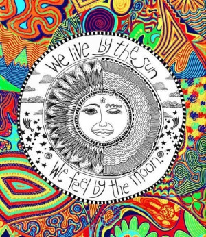 color, hippie, hipster, moon, sun