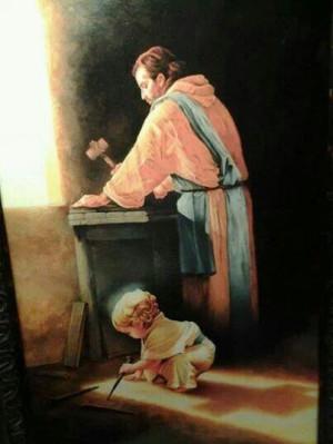 Jesus as a boy carpenter with Joseph