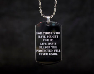 Soldier's Quote Etched Dog Tag Necklace ...