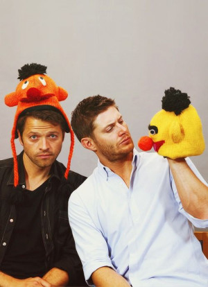Misha Collins and Jensen Ackles... Didn't dean once say Bert and Ernie ...