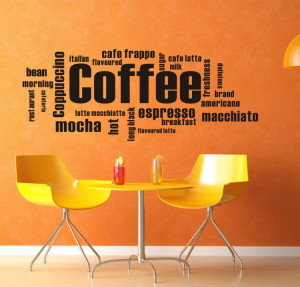 ... Coffee Wall Quote Kitchen Wall Sign Wall Sticker For Shop Office Home