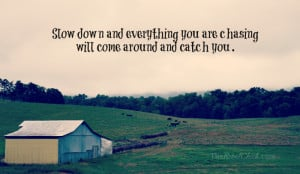 inspirational photo quote about slowing down in life