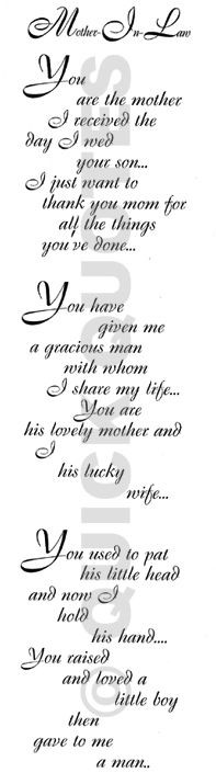 had this written in calligraphy, matted and framed for my mother-in ...