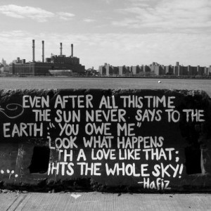 the sun never says to the earth,