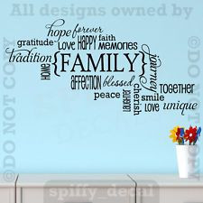 Family Memories Love Home Happy Smile Quote Wall Decal Vinyl Decor ...