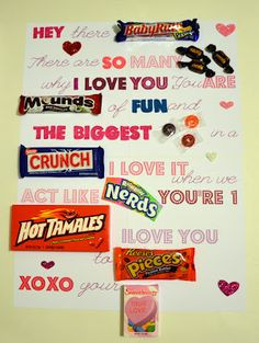 Candy Bar Letter. cute for vday