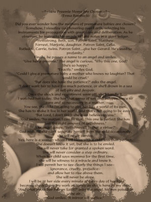 How Preemie Moms are Chosen ~?~ Beautiful Poem