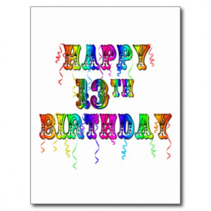 13th Birthday Gifts with Circus Balloon Font Postcard