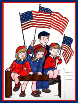 Clip Art of a Patriotic Kids Memorial Day Card - © Amended Public ...