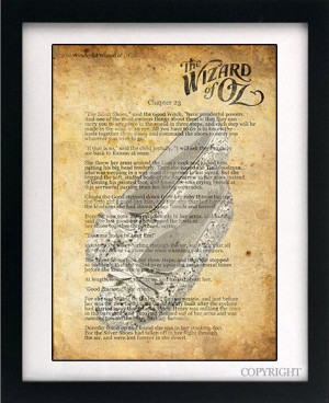 Wizard of Oz Dorothy Ruby Slippers Quote Art Book Print - A3 or A4 ...
