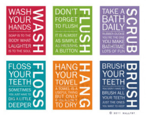 ... wall quotes. Wash Brush Floss Flush. Typography. Prints by WallFry