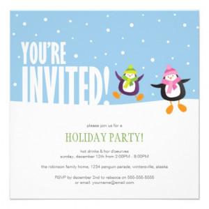 Cute Festive Penguin   Holiday Party Invitation from Zazzle.com