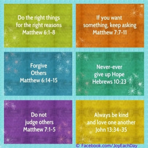Various bible quotes via www.Facebook.com/JoyEachDay