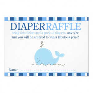 Little Blue Whale Baby Shower Diaper Raffle Card from Zazzle.com