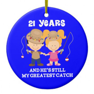 21st Wedding Anniversary Funny Gift For Her Double-Sided Ceramic Round ...