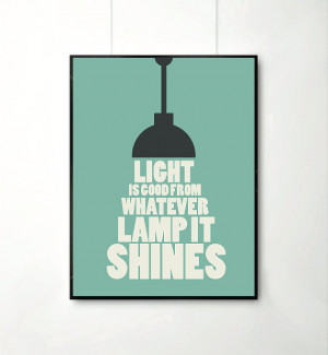 ... quote posters, happy art, typography poster, lamp art print , positive