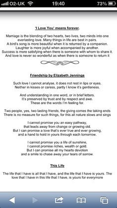 love friendship by elizabeth jennings more quotes poems wedding songs ...