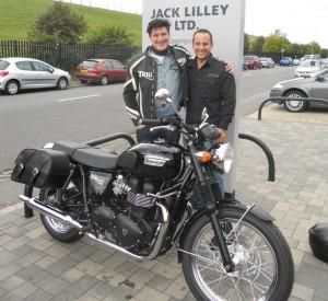 Marcus Mumford collects new Triumph Bonneville
