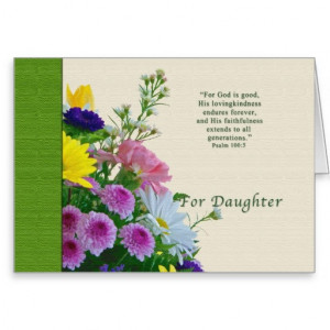 Birthday, Daughter, Floral Bouquet, Religious Greeting Card