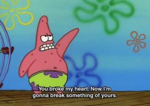broke, cartoon, cute, heart, patrick, quote