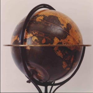 facsimile behaim globe showing the indian ocean and the tiger