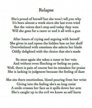relapsed today I self harmed for the first time in 5 weeks. I can't ...