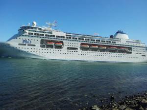Cruiseship entering Otago Harbour