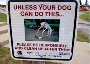 Unless Your Dog Can Do This... Please Be Responsible And Clean Up ...