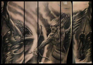 Angels And Demons Half Sleeve Tattoo #1