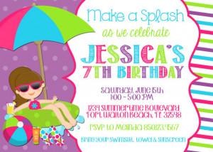 Swimming Pool 5x7 Invitation - Girl Birthday Party - PRINTABLE