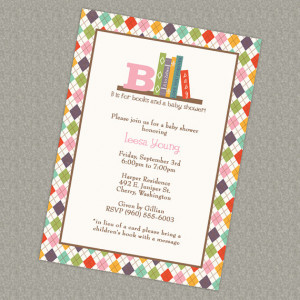 Book Baby Shower Invitation, in lieu of a card please bring a children ...